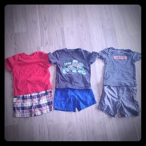 18 month t-shirt and short outfits random brands